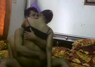 Dark skin Desi hot wife rides her husband unaffected by camera