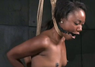 Ebon porn slut Chanell Heart is tied up and stretched in porn bet