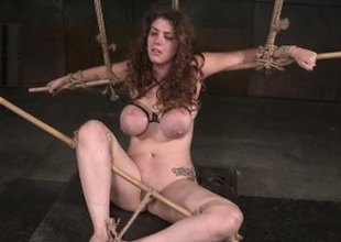 Spectacular and breasty son Samsara tortured wide of a black master