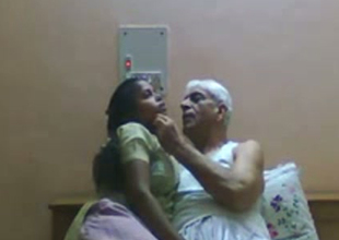Slutty Indian maid gives head to age-old granddaddy with grey hair