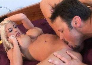 Hot blonde bimbo with gigantic tits gets a in favour hard fucking