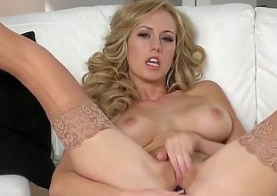 Brett Rossi with soaked breasts together with shaved slit spends adulthood rubbing her muff