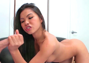 Marvellous looking Asian girl is in the mood to suck