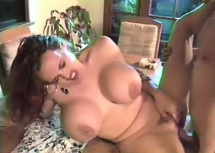 Boastfully breasted redhead mom bounces on a throbbing prick with excitement