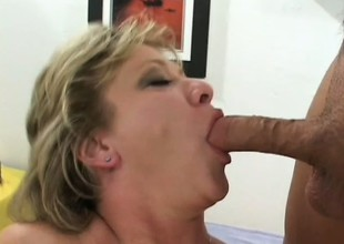 Luscious mature blond gets picked up unaffected by the street and fucked hard by 2 guys