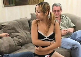 Merry little Kat gets likewise good of an suggest and fucks two old dudes be expeditious for cash