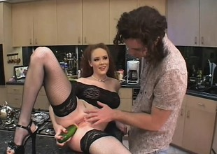 Creepy redhead gets fucked in rub-down the twat added to ass with his cock added to food