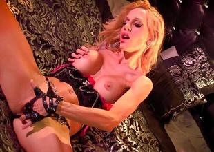 Despondent Sarah Jessie plays with her moist slit