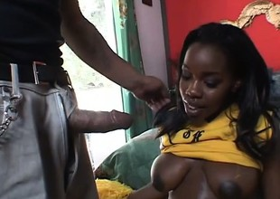 Ebony cheerleader has a black guy eating parts and banging her succulent twat