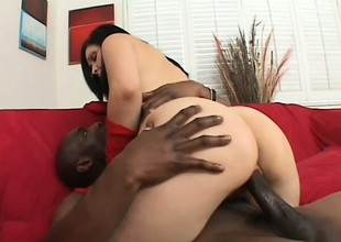 Foxy brunette in lingerie takes it from a group of black guys