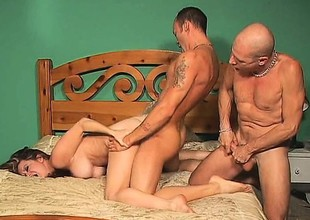 Hot couple gets dirty with their bi male ally and a belt on