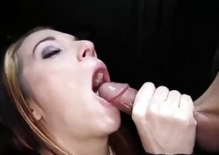 Gloryhole Secrets fit redhead swallows loads be incumbent on cum 1