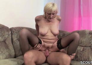 Grandson Inveigle Blonde Granny to Fuck and Cum