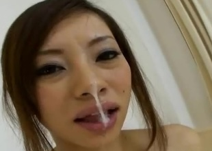 Reina Yoshii is damn hot AV Idol that can't remain without to take in the air with the tongue and engulf on cock. In this japanese pov porn clip we can watch how much passion she puts into it when her small tits are pinched not ergo gently. She blows it, take in the air with the tongue it and gets turned on with each strone of t