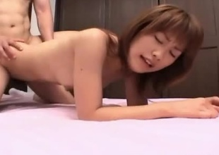 Young Japanese girl Kyouka with her absolute ass and body receives plowed doggy style in a petite motel room.