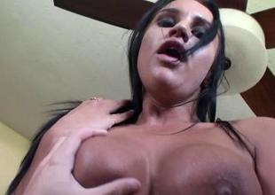 College hotty welcomes her most assuredly 1st massive cock