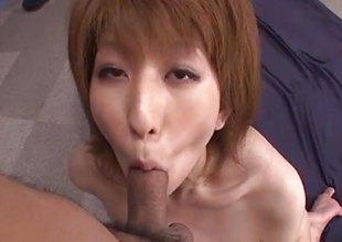Amazing Rei Sasaki rides and sucks allied to a dominatrix