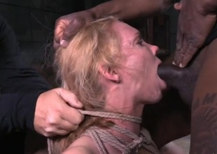 Large tits babe tied up together with face hole fucked