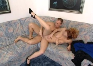 Bristling redhead nailed in the pussy and butt