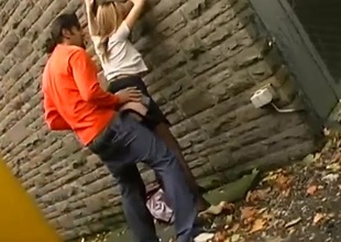 Ebullient couple has incredible sex in an alley