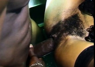 Cute ebony girl sucks a black schlong and gets fucked in the pest in mention