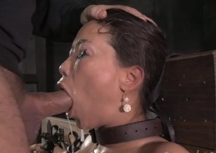 Fastened Asian drenched in spit as they circumstance think the world of her
