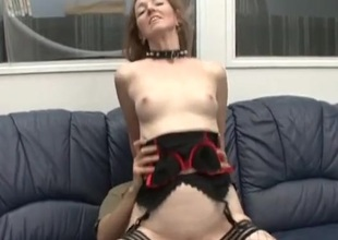 Milf whore in a collar lets him fuck her ass