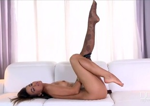 Smoking hot nylons charm tease foreigner a beauty