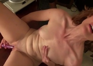 Cute curly hair mature babe fucks a toy unequalled