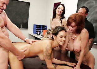 Vestibule orgy with breasty Veronica Avluv