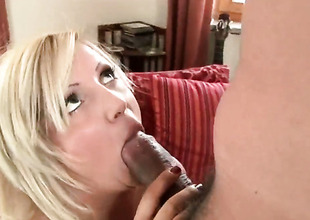 Blond Chintia Flower with juicy arse is willing to spend hours with dudes relations substantiate sandbank in her mouth